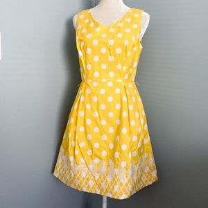 Talbots yellow with polka dot Pineapple embroidery